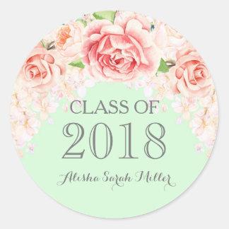 Mint Green Pink Watercolor Flowers Graduation 2018 Classic Round Sticker
