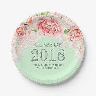 Mint Green Pink Watercolor Flowers Graduation 2018 Paper Plate
