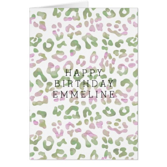 Mint Green Pink Watercolor Leopard Print Birthday Card – Leopard Print Birthday Card