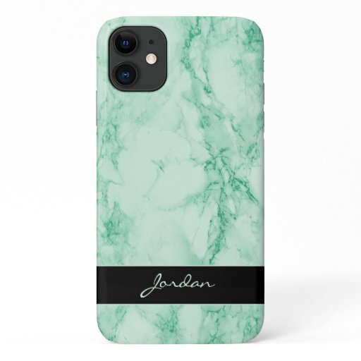 Mint Green Polished Marble Stone with Name iPhone 11 Case