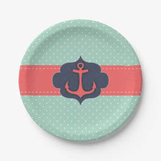Mint Green Polka Dot Coral Pink Anchor 7 Inch Paper Plate