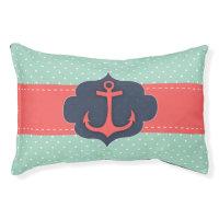 Mint Green Polka Dot Coral Pink Anchor Pet Bed