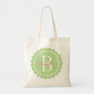 Mint Green Polka Dot Flower With Happy Pink Tote Bag