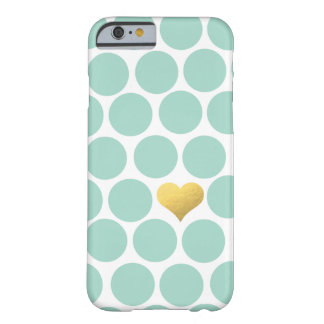 Mint Green Polka Dot Gold Foil Heart iPhone Barely There iPhone 6 Case