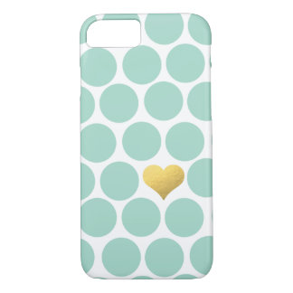 Mint Green Polka Dot Gold Foil Heart iPhone iPhone 7 Case