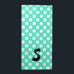 """Mint Green Polka Dot Monogram Cloth Napkins<br><div class=""""desc"""">Fun cloth napkins done in mint green,  with big white polka dots.  A bold black monogram decorates one side of the napkin.  Personalize the letter to suit your needs. Great for every day use or special occasions and makes a wonderful gift idea for bridal showers and weddings.</div>"""