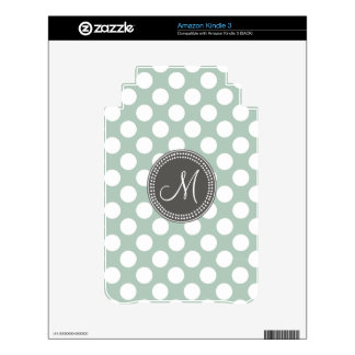 Mint Green Polka Dot Monogram Skins For The Kindle