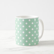 Mint Green Polka Dot Pattern Fabric Coffee Mug