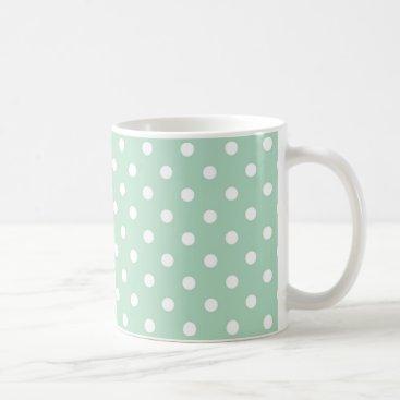 Coffee Themed Mint Green Polka Dot Pattern Fabric Coffee Mug