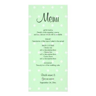 Mint Green Polka Dot Pattern. Wedding Menu