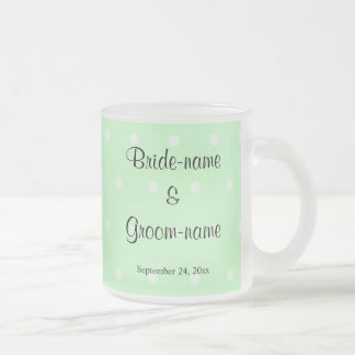 Mint Green Polka Dot Pattern. Wedding 10 Oz Frosted Glass Coffee Mug