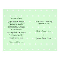 Mint Green Polka Dot Pattern. Wedding Program