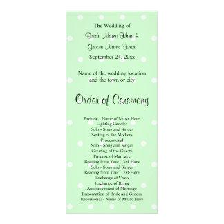 Mint Green Polka Dot Pattern. Wedding Program Rack Card