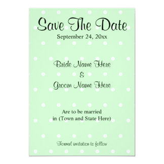 Mint Green Polka Dot Pattern Wedding Save The Date Card