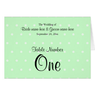 Mint Green Polka Dot Pattern. Wedding Table Number Greeting Cards