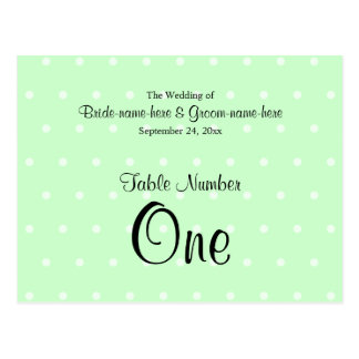 Mint Green Polka Dot Pattern. Wedding Table Number Post Cards
