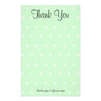 Mint Green Polka Dot Pattern. Wedding Thank You Stationery