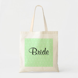 Mint Green Polka Dot Pattern. Wedding Tote Bag