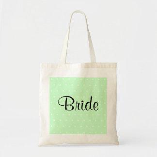 Mint Green Polka Dot Pattern. Wedding Tote Bags