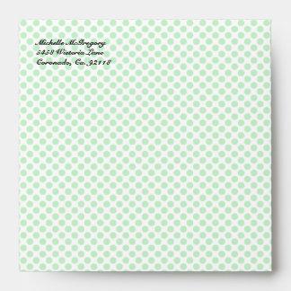 Mint Green Polka Dot Square Envelopes