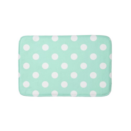 Mint green polka dots bathroom rug