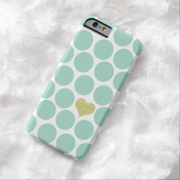Valentines Themed Mint Green Polka Dots Glitter Heart iPhone Barely There iPhone 6 Case