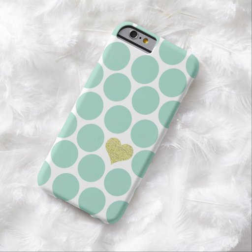 Mint Green Polka Dots Glitter Heart iPhone Barely There Iphone 6 Case