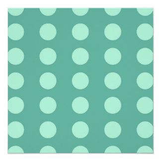 Mint Green Polka Dots on Green Pattern Gifts 5.25x5.25 Square Paper Invitation Card
