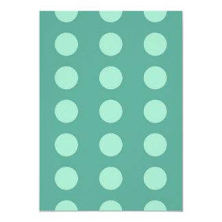 Mint Green Polka Dots on Green Pattern Gifts 5x7 Paper Invitation Card