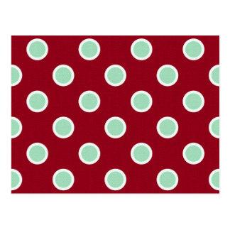 Mint Green Polka Dots on Maroon Christmas Postcard