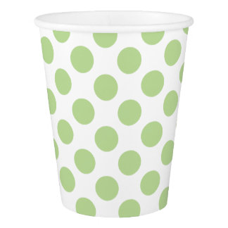 Mint Green Polka Dots on White Paper Cup