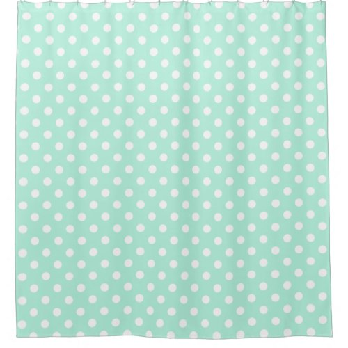 Mint green polka dots shower curtain