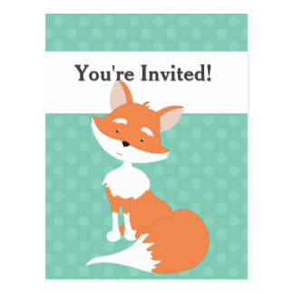 Mint Green Polka-Dots•Woodland Fox•Custom Postcard
