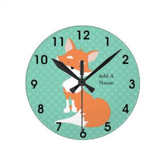 Mint Green Polka-Dots•Woodland Fox•Custom Round Clock