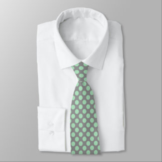 Mint-Green PolkaDots Patter Custom Gray Background Neck Tie