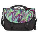 Mint Green Purple Bloom Fractal Laptop Messenger Bag