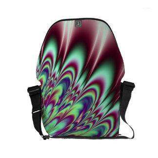 Mint Green Purple Bloom Fractal Small Messenger Bag