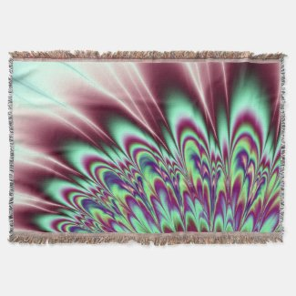 Mint Green Purple Bloom Fractal Throw