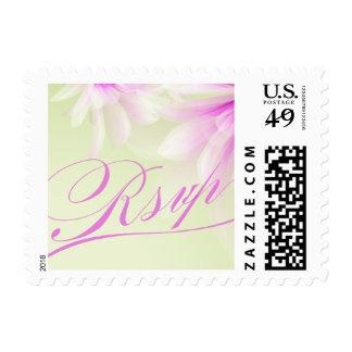 Mint Green Purple Floral RSVP Postage