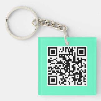 Mint Green QR CODE Custom Key Chain
