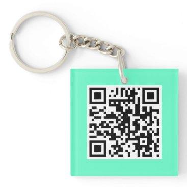Professional Business Mint Green QR CODE Custom Key Chain