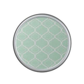 Mint Green Quatrefoil Geometric Pattern Bluetooth Speaker