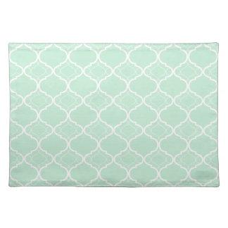 Mint Green Quatrefoil Geometric Pattern Cloth Placemat