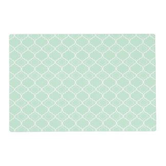 Mint Green Quatrefoil Geometric Pattern Laminated Place Mat