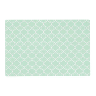 Mint Green Quatrefoil Geometric Pattern Placemat