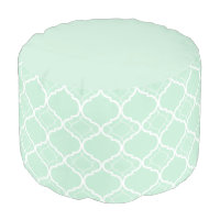Mint Green Quatrefoil Geometric Pattern Pouf