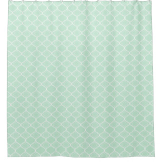 mint green quatrefoil geometric pattern shower curtain