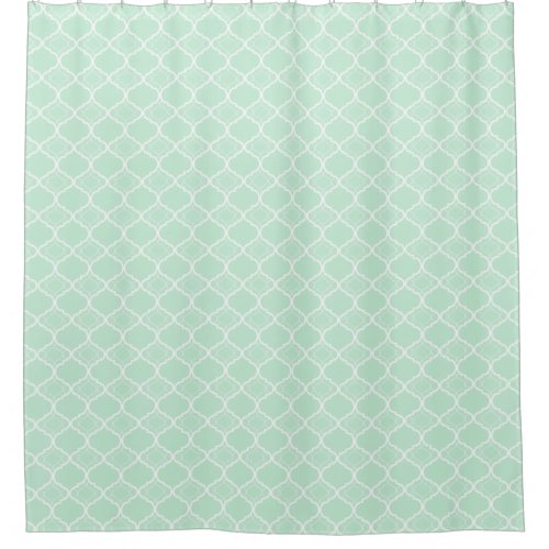 Mint Green Quatrefoil Geometric Pattern Shower Curtain