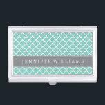 """Mint Green Quatrefoil Pattern Business Card Case<br><div class=""""desc"""">Stylish and chic design features a beautiful clover trellis seamless pattern and it is available in lots of cheerful and bright colors. Personalize with your name or text of  your choice.</div>"""