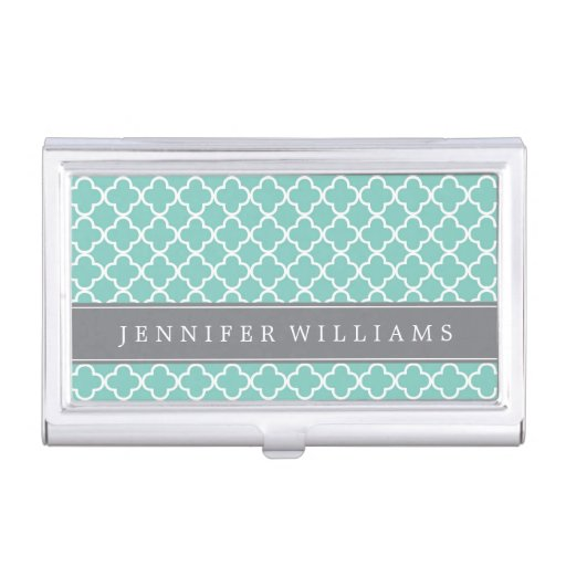 Mint Green Quatrefoil Pattern Business Card Holders